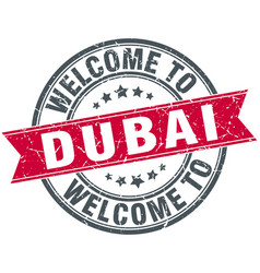 welcome to dubai red round vintage stamp vector image