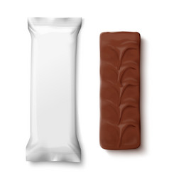 white pack with black chocolate candy bar vector image