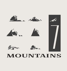 mountain icons set mountains landscape vector image