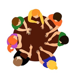 People on table vector image
