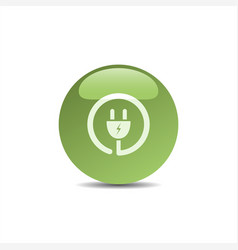 plug icon on green bubble vector image vector image