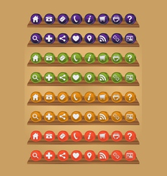 3d web icons on shelf vector image vector image
