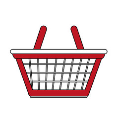 color silhouette cartoon red shopping basket with vector image vector image