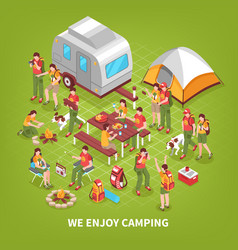 expedition camping isometric poster vector image