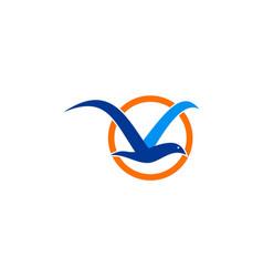 seagul bird abstract logo vector image