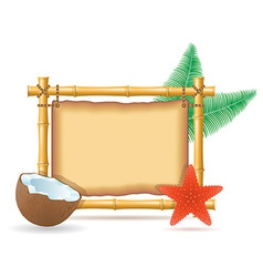 bamboo frame and coconut 02 vector image