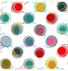 Colorful Seamless Yarn Balls Pattern vector image vector image