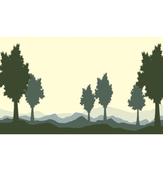 Silhoutte of tree on the hill landscape vector
