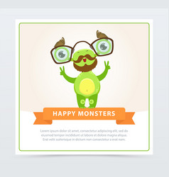 cute funny green monster with mustache and vector image
