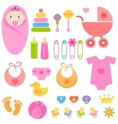 Set of baby girl elements vector