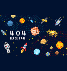 404 error page not found space background vector image