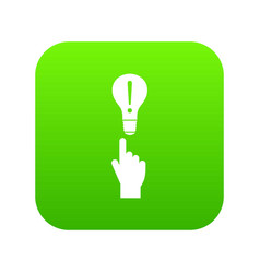 a finger pointer and light bulb icon digital green vector image