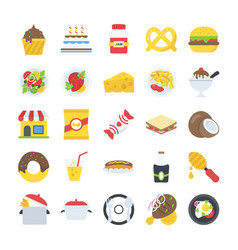A pack of food and drinks icons vector