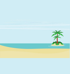 a tropical sea island with palm trees and sun vector image