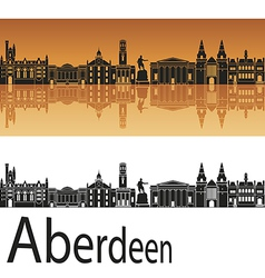 Aberdeen skyline in orange background vector image