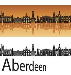 Aberdeen skyline in orange background vector