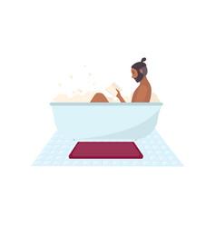 African american man sitting in bathtub full of vector