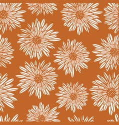 Aster dahlia flowers white on gold brown seamless vector