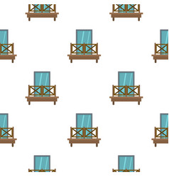 balcony with wooden fence pattern flat vector image