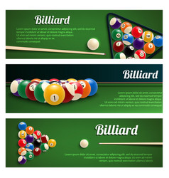 Billiards sport banner for snooker and pool design vector