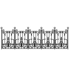 Black forged fence vector
