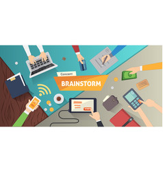 Brainstorming creative team concept in flat style vector