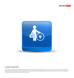 Businessman with idea icon - 3d blue button vector