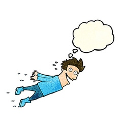 Cartoon drenched man flying with thought bubble vector