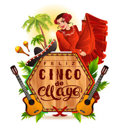 Cinco de mayo lettering text and woman greeting vector