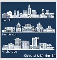 cities usa - lincoln henderson anchorage vector image