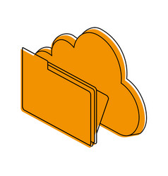 cloud storage with file folder icon image vector image