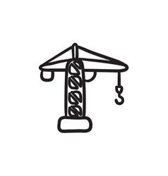 Construction crane sketch icon vector