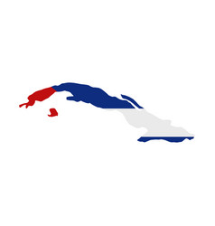 cuba map with flag vector image