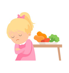 Cute girl does not want to eat vegetables kid vector