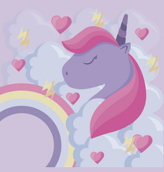 cute unicorn with rainbow and clouds vector image