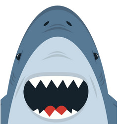 cute white shark open mouth vector image