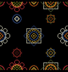 dark bright background embroidery for tablecloth vector image