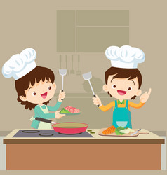 Daughter cooking with mam vector