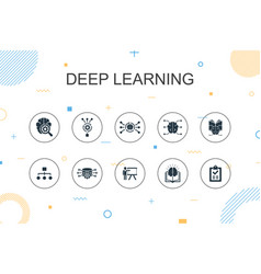 Deep learning trendy infographic template thin vector