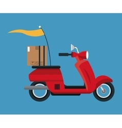 Delivery concept red motorcycle cardboard box vector