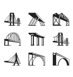 Different bridges in perspective vector image