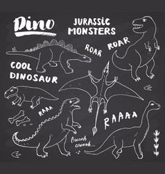 dino doodles set cute dinosaurs sketch vector image