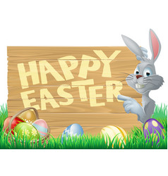 easter bunny and eggs sign vector image