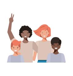 family waving avatar character vector image