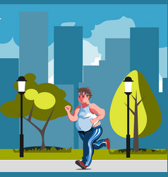 fat man feeling run in park vector image