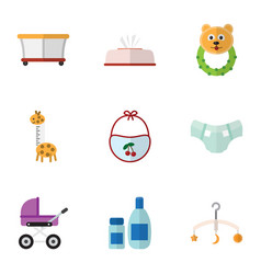 Flat icon child set of playground cream with vector