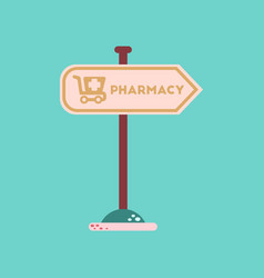 Flat icon on background pharmacy sign vector