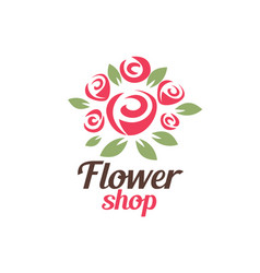 flower shop logo template stylized symbol vector image