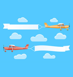Flying advertising banners pulled light planes vector