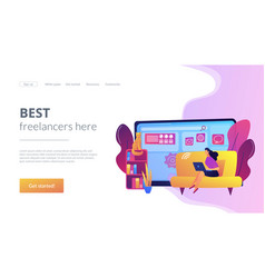 Freelance work concept landing page vector